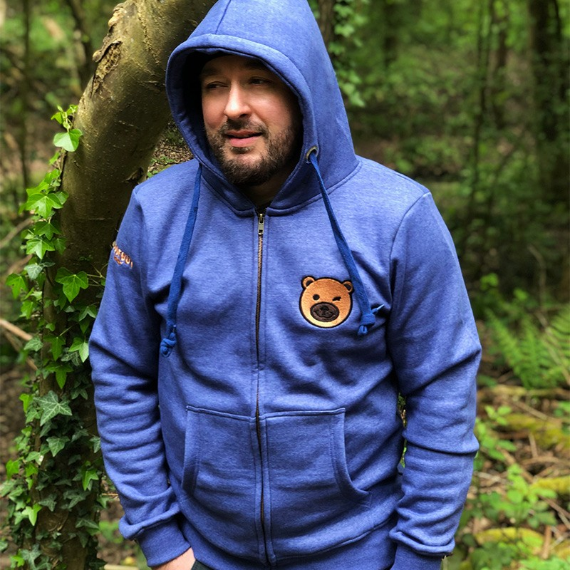 Bear Face Zipped Hoodie by WOOFGUY